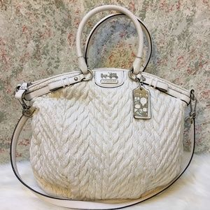 COACH Large White Twisted Quilted  LINDSEY Satchel